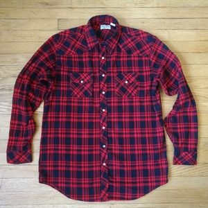 Vintage Red & Navy Flannel